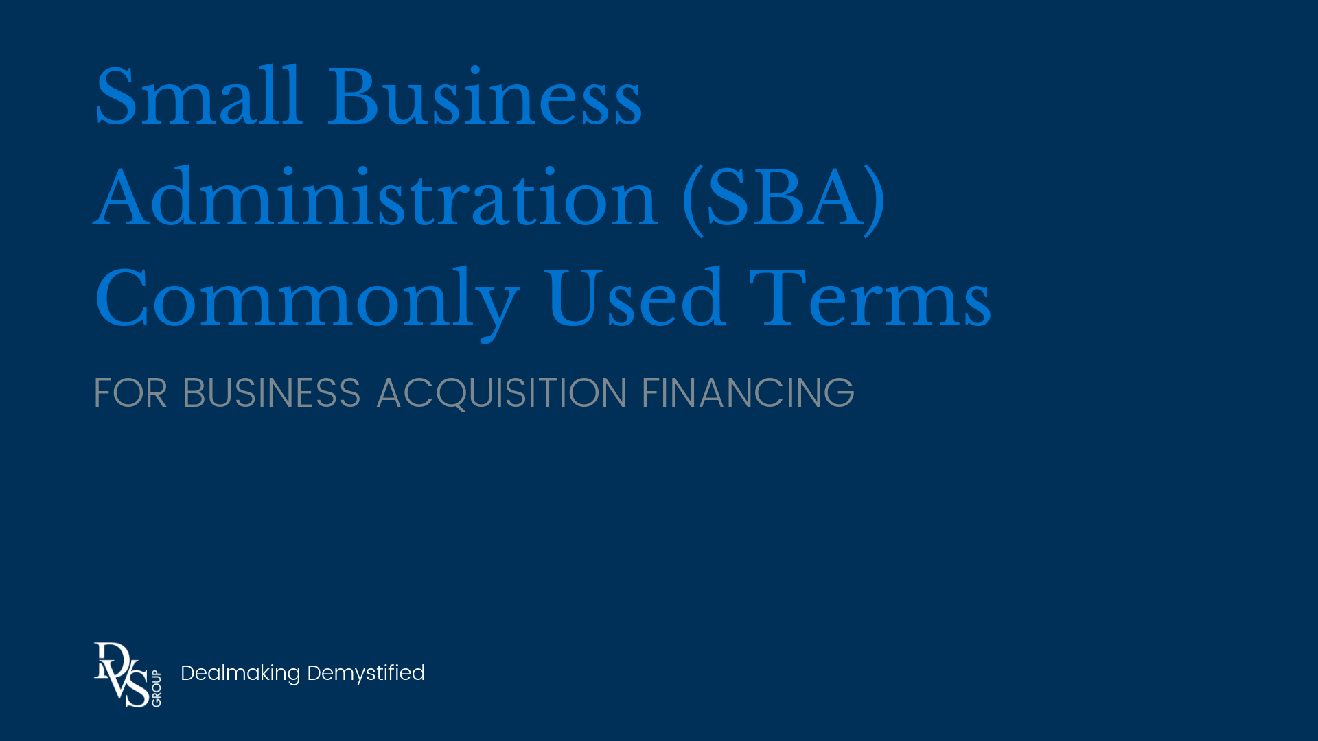 SBA Commonly Used Terms