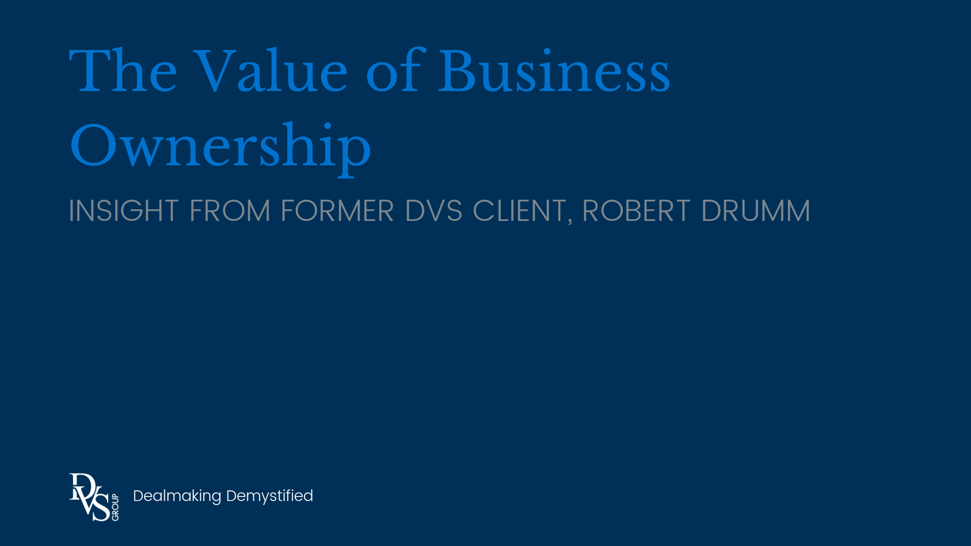 The Value of Business Ownership