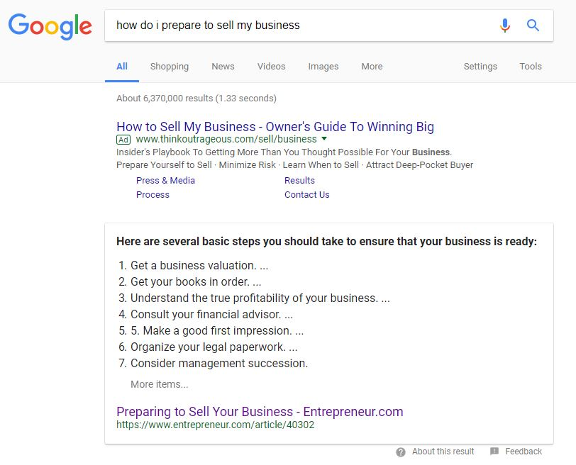 Google results - how do i prepare to sell my business