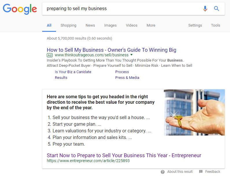 Google results - preparing to sell my business